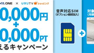 OCNモバイルONEとひかりTVショッピングでキャッシュバック3万円!